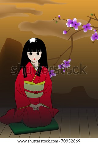 Vector illustration. The girl in a red kimono. - stock vector