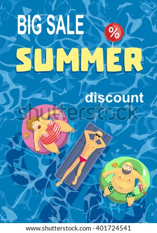 Vector illustration. The guy and the fat men in the form of a percentage sign. Summertime and holiday buy. Big sales. Blue ocean - stock vector