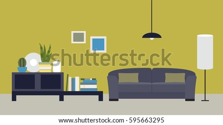 The Interior Of Room Living With A Sofa Flat
