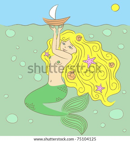 Vector illustration. The mermaid holding a boat on a water surface. - stock vector