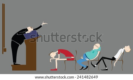 Vector illustration. The pupils in the classroom, sleeping in a lecture teacher. - stock vector