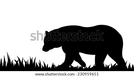 Vector illustration the silhouette of bear in the grass. - stock vector