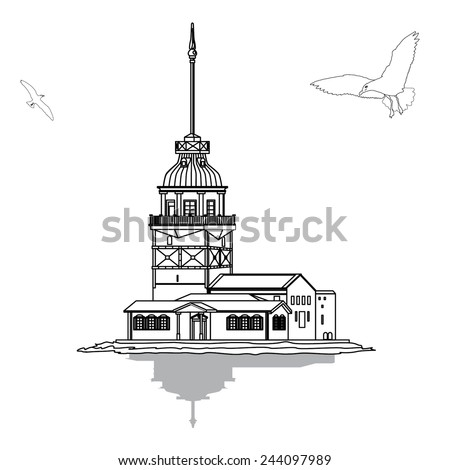 Vector illustration The Virgin Tower of Istanbul - stock vector