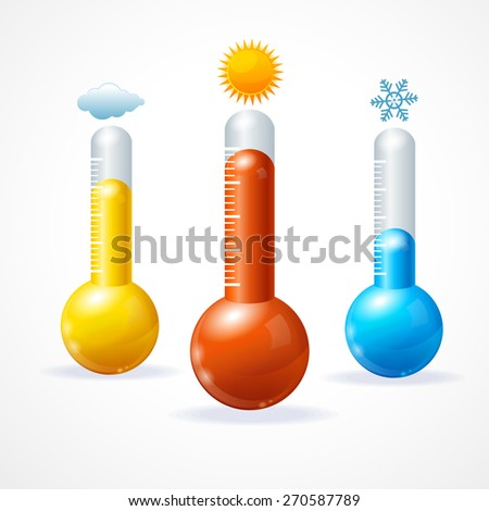 Vector illustration thermometr icon set. The concept of hot, cold and sunny weather - stock vector