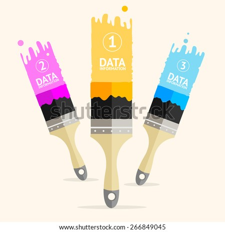 Vector illustration three colorful brushes isolated on white background, option banner - stock vector