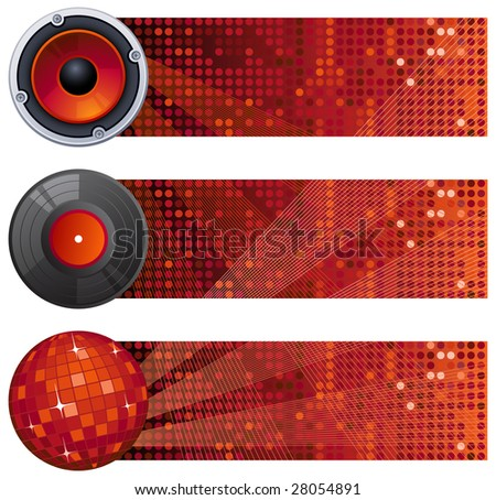 Vector illustration - three red music banners - stock vector