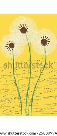 vector illustration three white dandelion - stock vector