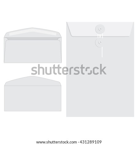 Vector illustration three white envelopes icon set. Blank mockups in three views, front and back, open and closed.