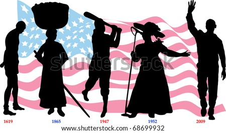 Vector Illustration time line for Black History month with American flag. Slavery from 1619-1865, Jackie Wilson in 1947, Mahalia Jackson in 1952 and Barack Obama became president in 2009. - stock vector