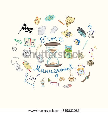 Vector illustration.Time management, watches, notes and notebooks illustration. Illustration can be used for wallpaper, web background,design, textile. - stock vector