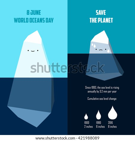 Vector illustration to the Ocean Day. Image of two icebergs: large and small. Infographics of global warming and rising waters on the planet. - stock vector