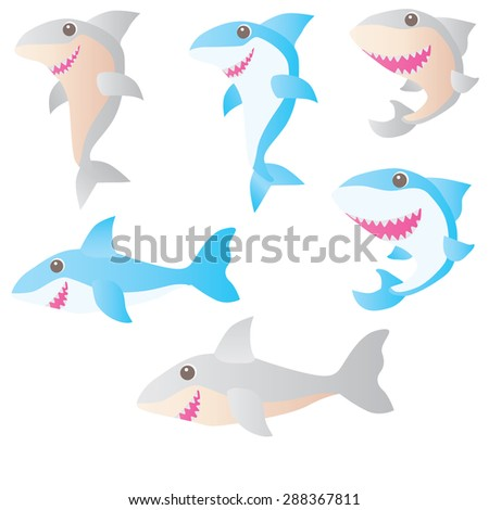 Vector illustration: toothy white shark - stock vector