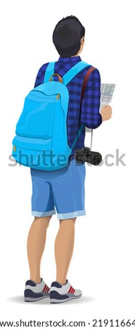 Vector illustration. Tourist with a backpack and a camera looking at map - stock vector
