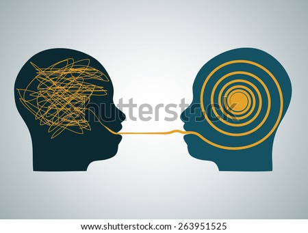 Vector illustration tow silhouette profile heads face to face, one with scribbling and second with accurate right maze, labyrinth. Talking, decoding and understanding process problems concept, symbol - stock vector