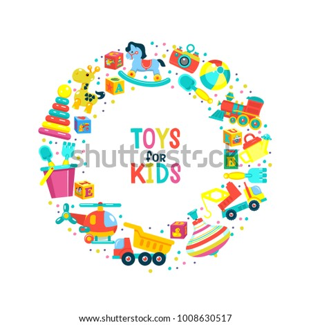 vector illustration toys children clipart oriented stock vector