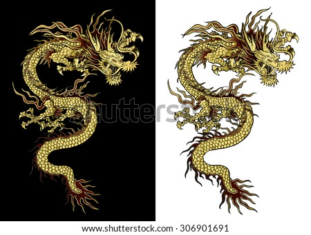 vector illustration Traditional Chinese dragon gold on a black background and a white background. Isolated object. Template design is suitable for any illustrations. - stock vector