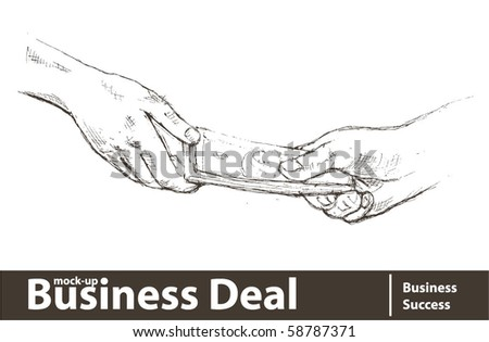 Vector illustration. Transfer of money from hand to hand - stock vector