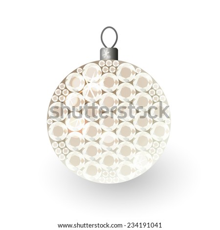 Vector illustration: translucent clouded shiny christmas 3d decorative ball made of beige crystals - stock vector