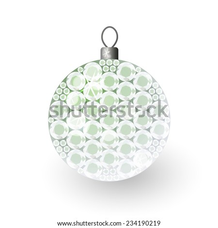 Vector illustration: translucent clouded shiny christmas 3d decorative ball made of green crystals - stock vector