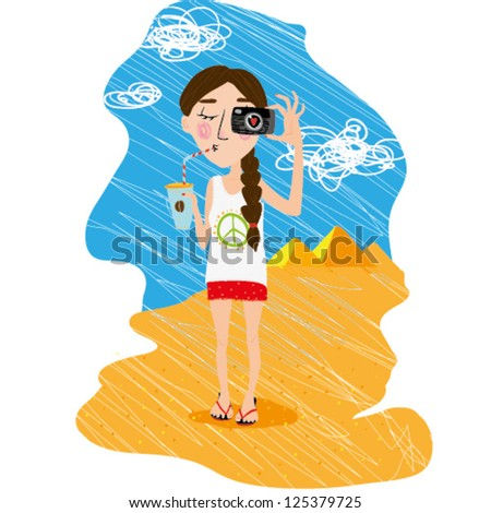 Vector illustration travel girl with camera - stock vector