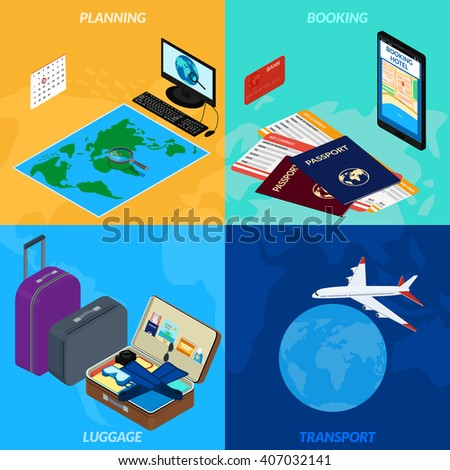 Vector illustration. travel  infographic . World map, magnifying glass, computer, Luggage, a plane. the isometric. 3D. A set of icons. - stock vector