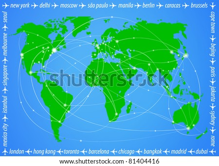 Vector illustration travel world map - stock vector