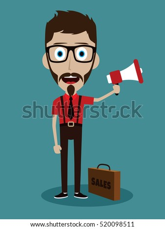 Vector illustration trendy flat style cartoon man holding megaphone and loudspeaker business advertising and promotion concept