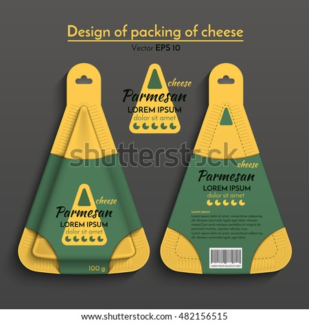Vector illustration. Triangular packaging of cheese. Design of a plastic box of yellow, green color.