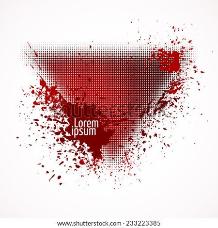 Vector illustration. Triangular red banner with halftone effect and ink splashes