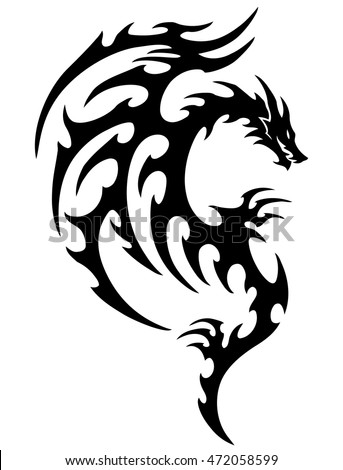 tribal dragon tattoo stock images royalty free images vectors shutterstock. Black Bedroom Furniture Sets. Home Design Ideas