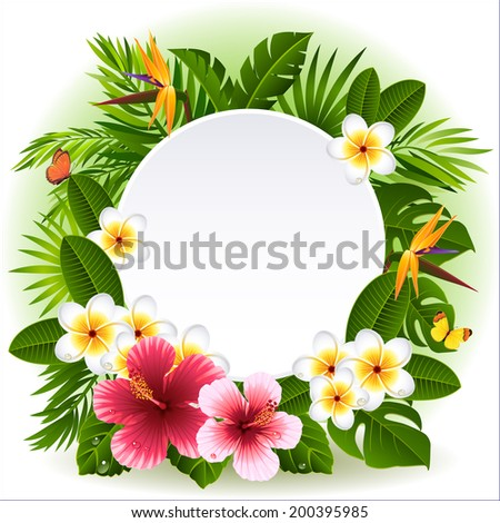 Vector illustration - tropical flowers and plants  - stock vector