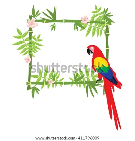 Vector illustration tropical island frame, border, poster with exotic flowers, plants and birds. Bamboo frame. Macaw parrot - stock vector