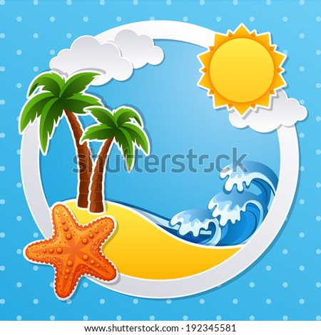 Vector illustration - Tropical island scrapbook background