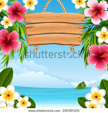 Vector illustration - tropical landscape with flowers - stock vector