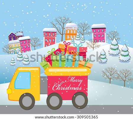 Vector illustration truck with Christmas presents. - stock vector
