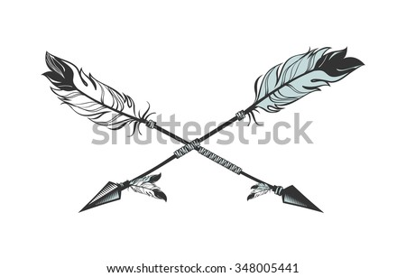 Line Drawing Feather : Vector illustration two arrows decorated feathers stock