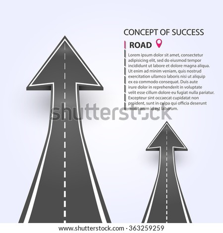 Vector illustration. Two arrows indicating the direction of the road. Success consept