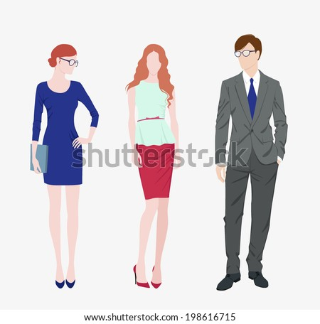Vector illustration two fashion girls and man in suit - stock vector