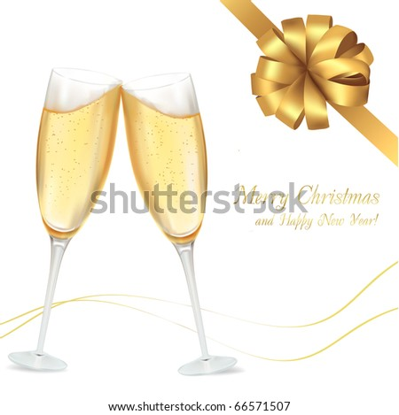 Vector illustration. Two glasses of champagne. - stock vector