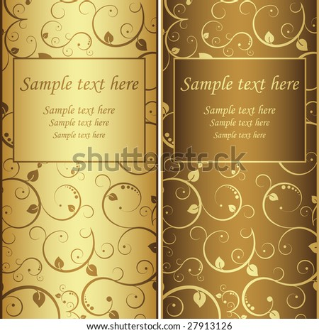 Vector illustration. Two gold backgrounds. - stock vector