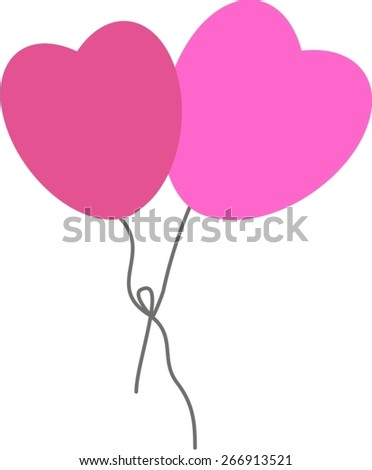 Vector illustration - two heart shaped balloons tied together - suitable for Mother's Day, Valentine's Day, and for expressing love and being together - stock vector