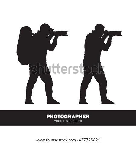 Vector illustration: Two isolated silhouette of the photographer with a backpack and telephoto lens on white background
