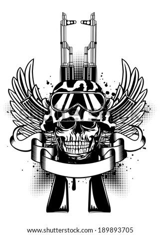 Vector illustration two Kalashnikov guns, wings and skull in helmet - stock vector