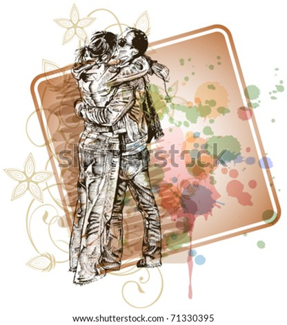 Vector illustration: Two lovers kissing & floral calligraphy ornament - a stylized orchid & color paint background - eps10 - stock vector