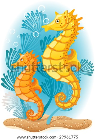 Vector illustration - Two seahorses  on the seabed - stock vector