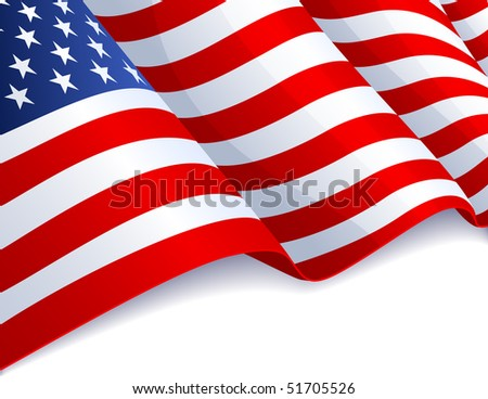 Vector illustration - USA flag in white background - stock vector