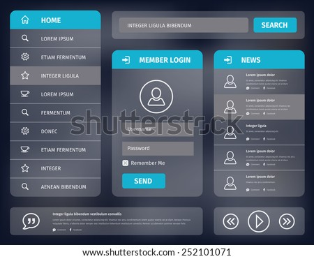 Vector illustration user interface for mobile or web with member login and vertical navigation. Simple outline icons. - stock vector