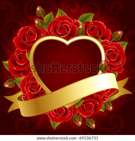 Vector illustration - Valentine's day background with roses and heart - stock vector