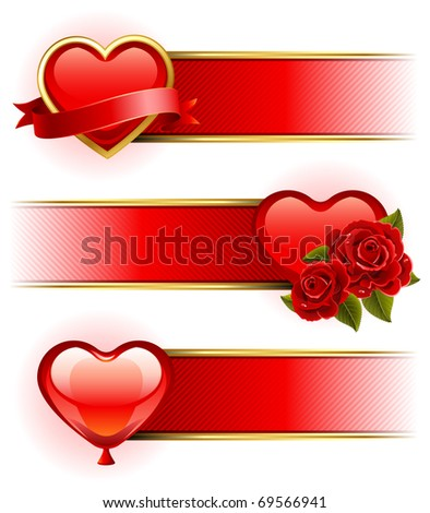 Vector illustration - Valentine's day banners  with roses and heart - stock vector