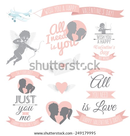 Vector illustration Valentine's Day greeting card set - stock vector